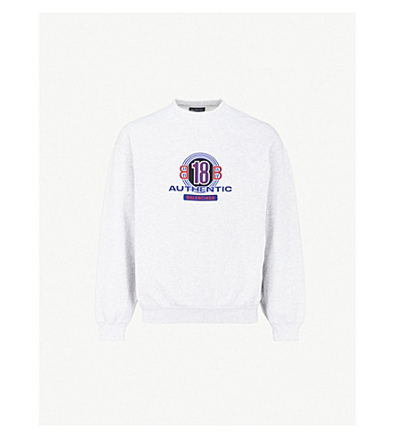 BALENCIAGA Authentic logo-print cotton-blend sweatshirt (Gris