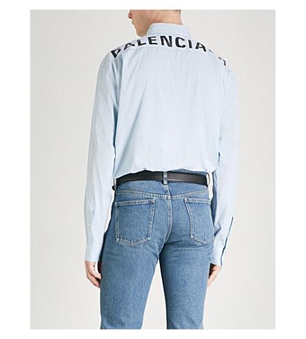 BALENCIAGA Logo-print striped oversized cotton-poplin shirt (Bleu