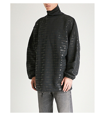 BALENCIAGA Metallic-printed cotton-blend sweatshirt (Black