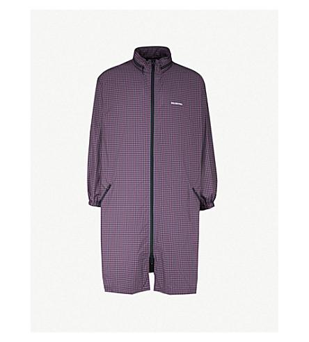 BALENCIAGA Checked shell hooded coat (Navy burgundy