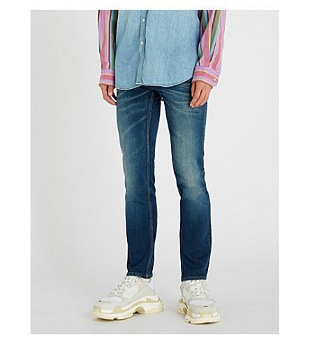 BALENCIAGA Faded slim-fit tapered jeans (Dark+blue