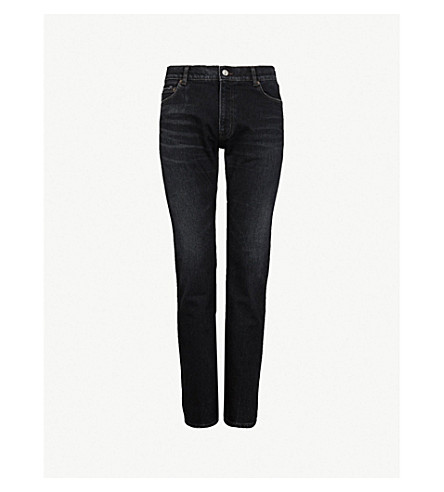 BALENCIAGA Faded slim-fit tapered jeans (Light+vintage+black