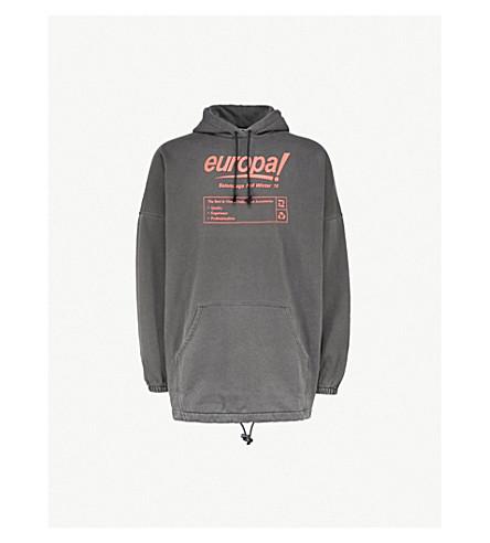 BALENCIAGA Europa-print oversized cotton-blend hoody (Washed+black