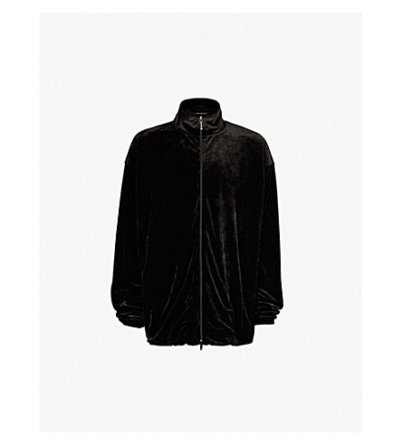 BALENCIAGA Oversized velour jacket (Black