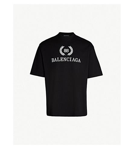 BALENCIAGA Logo-print cotton-jersey T-shirt (Black