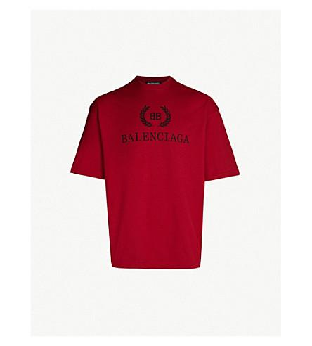 BALENCIAGA Logo-print cotton-jersey T-shirt (Pomegrenate