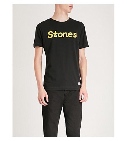 THE ROLLING STONES Logo-print cotton-jersey T-shirt (Black