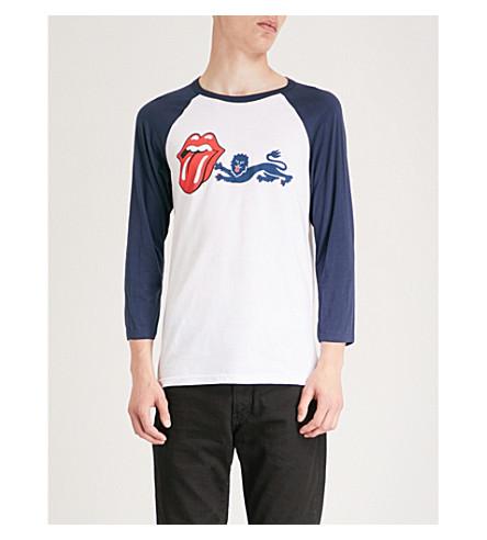 滚石标志-印花棉衫 t恤衫 (白色 + 蓝色