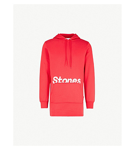 THE ROLLING STONES Logo-print cotton-blend hoody (Red