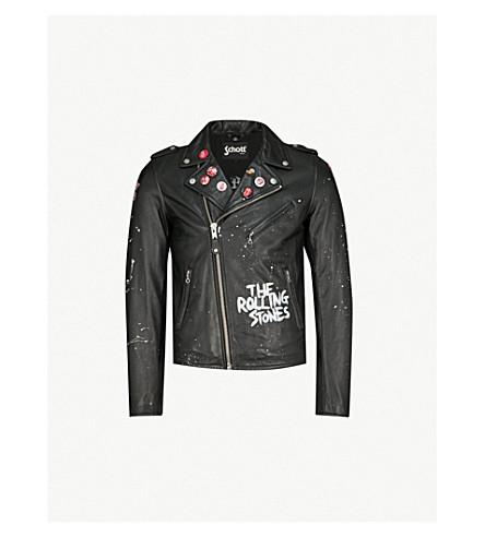 SCHOTT The Rolling Stones x Schott printed painted leather biker jacket (Black
