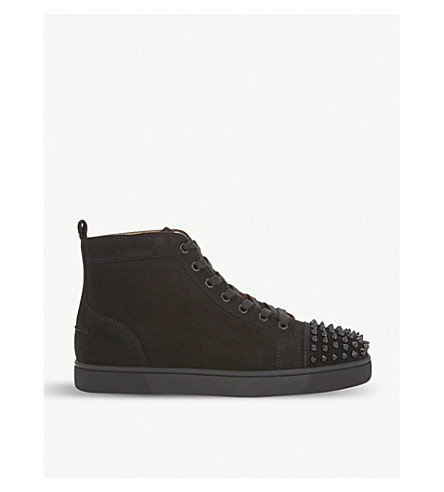 CHRISTIAN LOUBOUTIN Louis spikes flat suede (Black/black/bk