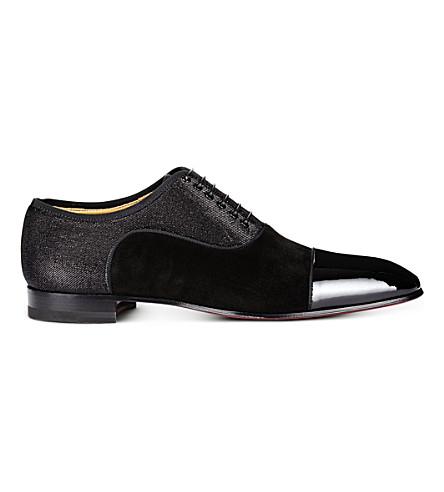 CHRISTIAN LOUBOUTIN Greggo Flat pat/vv/tissu (Black