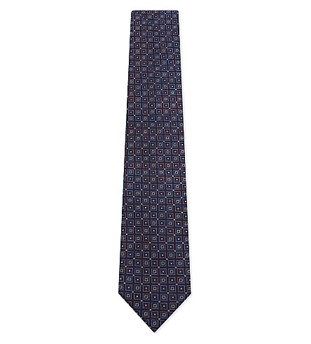 CORNELIANI Multi-square silk tie (Dark+purple+1
