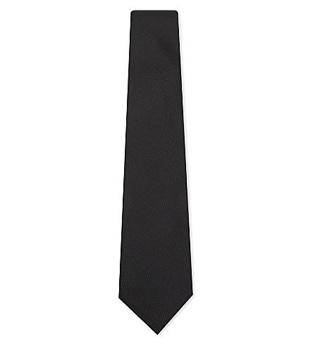 CORNELIANI Birdseye weave silk tie (Black