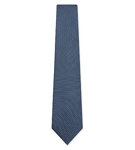 CORNELIANI Microdot grid silk tie (Teal