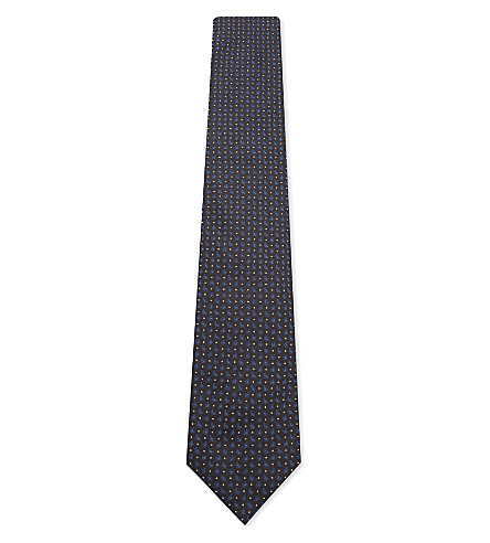 CORNELIANI Dot and micro teardrop pattern silk tie (Brown