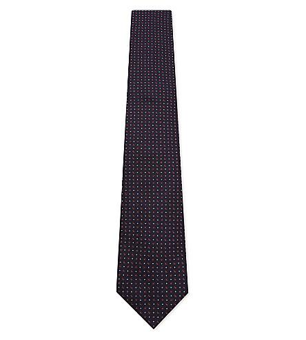 CORNELIANI Hexagon pattern silk tie (Burgundy