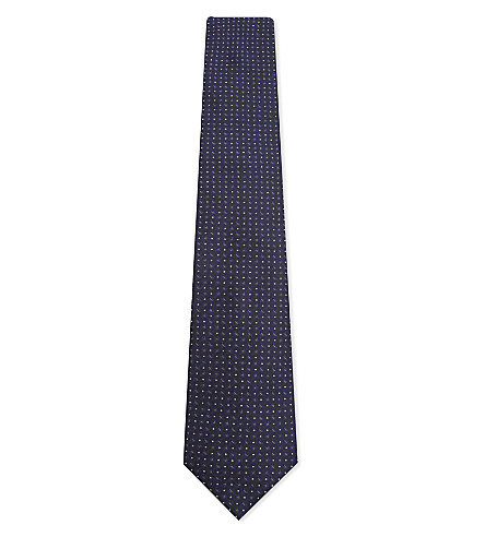 CORNELIANI Dot and teardrop silk tie (Navy
