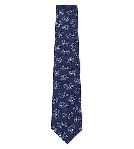 CORNELIANI Big paisley silk tie (Indigo