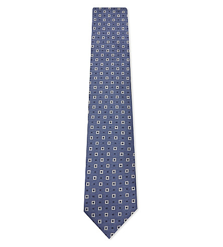 CORNELIANI Square print silk tie (Light+blue