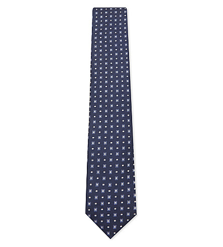 CORNELIANI Square pattern silk tie (Blue