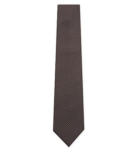 CORNELIANI Micro dot silk tie (Brown