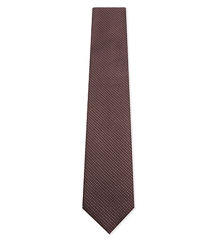 CORNELIANI Micro dot silk tie (Red
