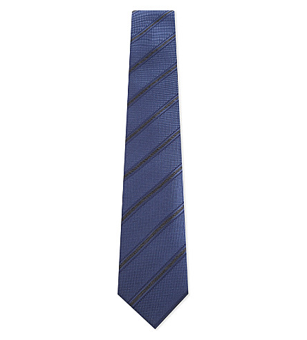 CORNELIANI Diagonal stripe textured silk tie (Navy
