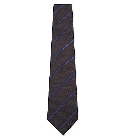 CORNELIANI Diagonal stripe silk tie (Brown