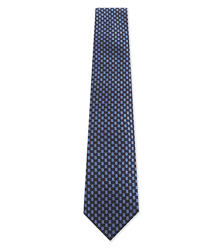 CORNELIANI Hexagon silk tie (Blue