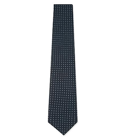 CORNELIANI Flower tile wool-silk tie (Teal