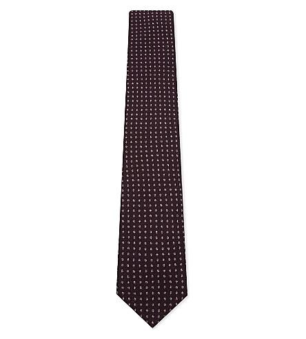 CORNELIANI Dot-stitch knitted wool-silk tie (Burgundy