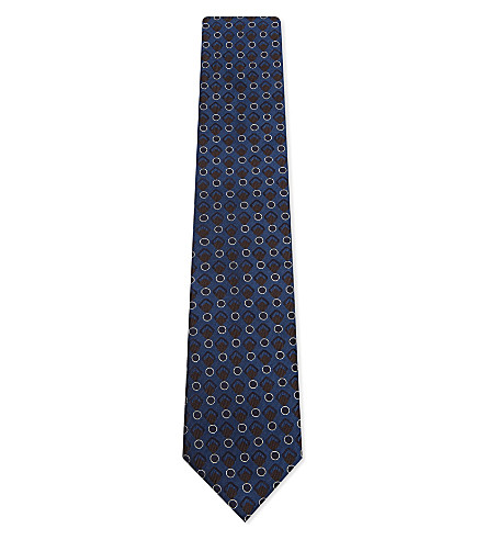 CORNELIANI Interlocking shape silk tie (Blue+1