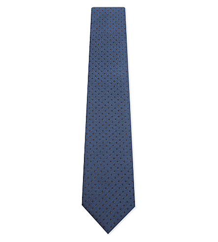 CORNELIANI Pin-dot silk tie (Blue
