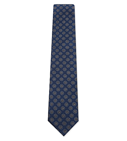 CORNELIANI Flower-head diagonal stripe silk tie (Blue+2