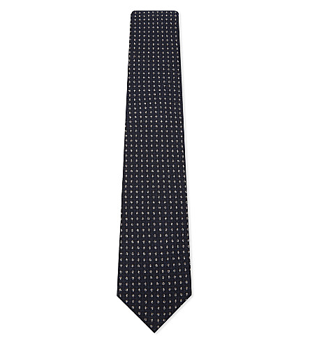 CORNELIANI Dot knitted wool-silk tie (Navy