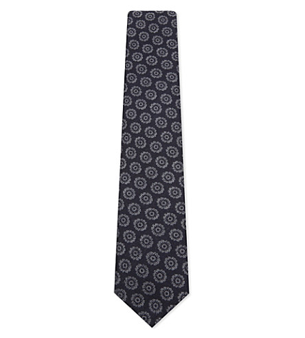 CORNELIANI Flower knitted wool-silk tie (Navy+1