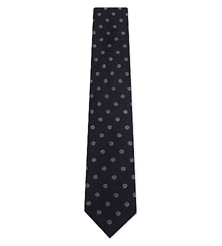 CORNELIANI Spot knitted wool-silk tie (Navy