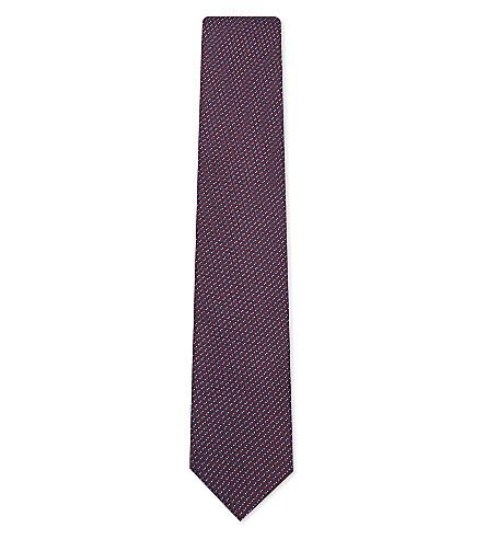 CORNELIANI Dot silk tie (Burgundy+1