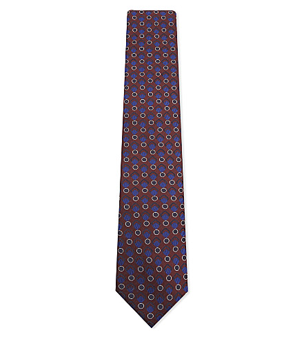 CORNELIANI Interlocking shape silk tie (Burgundy