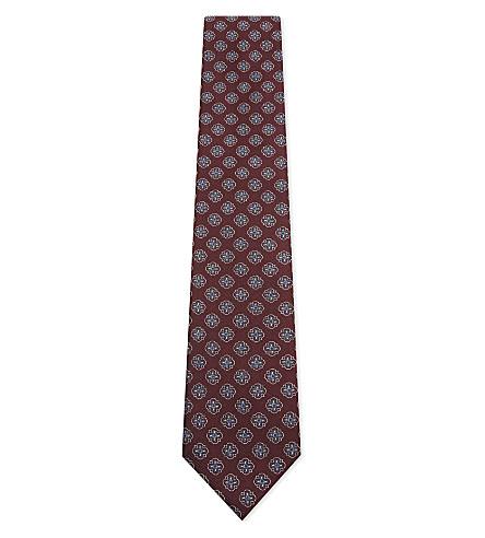CORNELIANI Tile-print silk tie (Burgundy+1