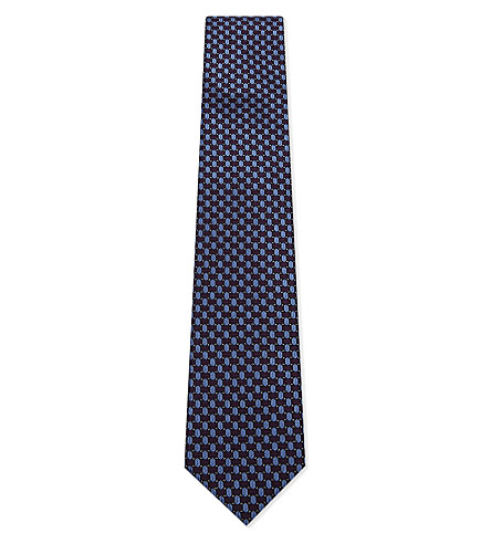 CORNELIANI Dot and teardrop silk tie (Dark+purple