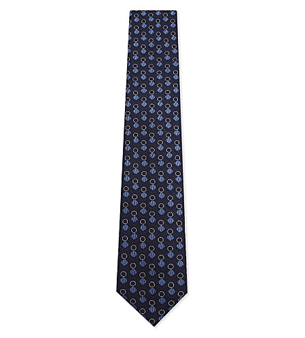 CORNELIANI Interlocking shape silk tie (Navy+1