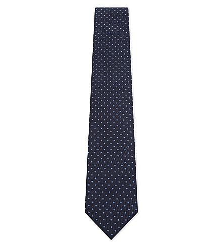 CORNELIANI Pin-dot silk tie (Navy