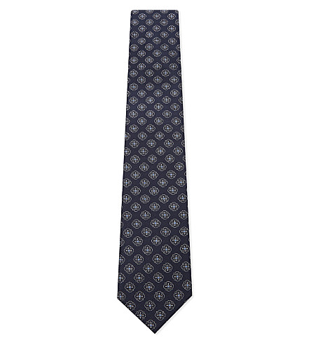 CORNELIANI Flower-head diagonal stripe silk tie (Navy+2