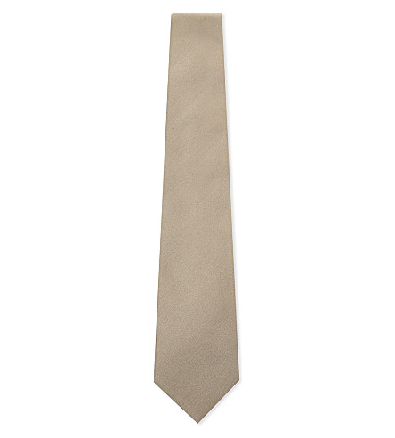 CORNELIANI Solid silk tie (Gold