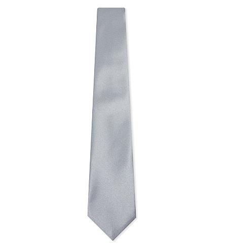 CORNELIANI Solid silk tie (Grey