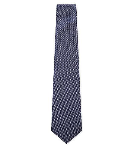 CORNELIANI 线丝绸领带 (深蓝色