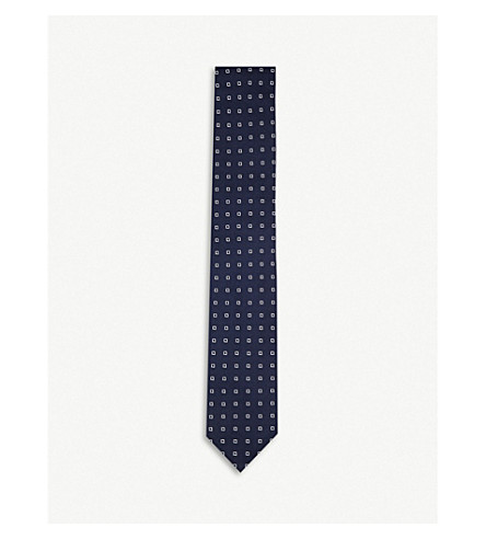 CORNELIANI Polka dot silk tie (Navy