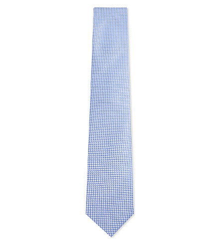 CORNELIANI Geometric silk tie (Pale+blue